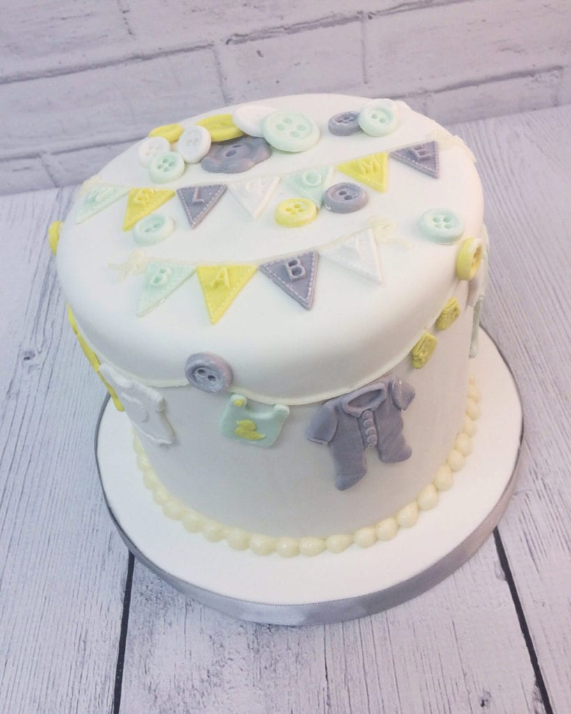 Nashville Sweets Yellow Grey Baby Shower Cake