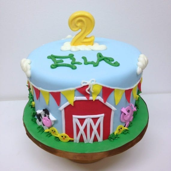 Barn Farm Animal Birthday Cake