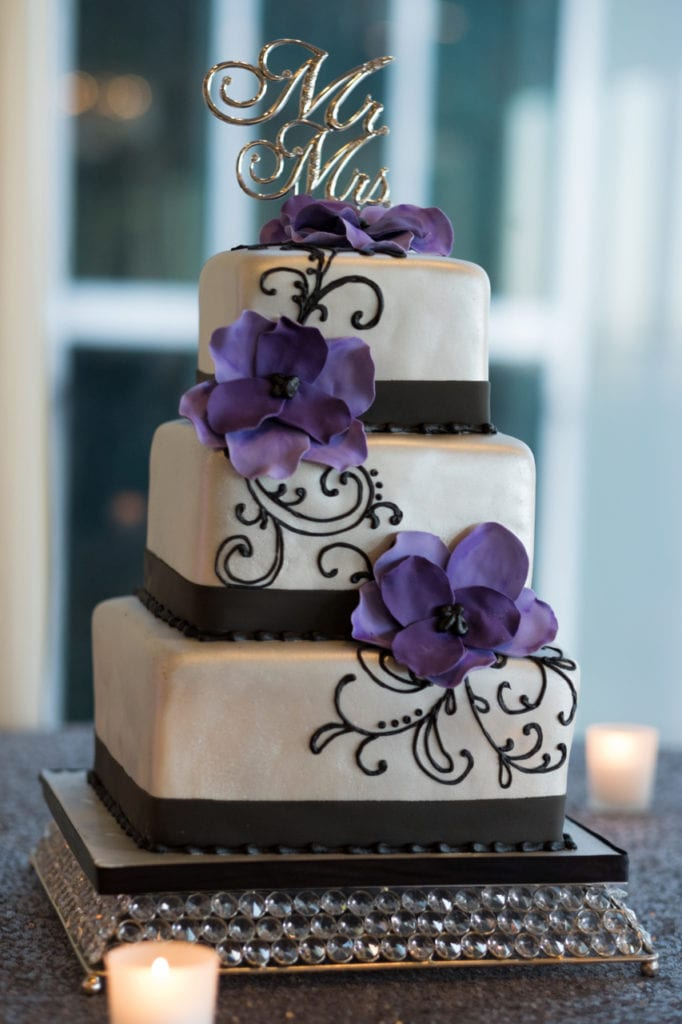Nashville Sweets Purple Black And Silver Wedding Cake
