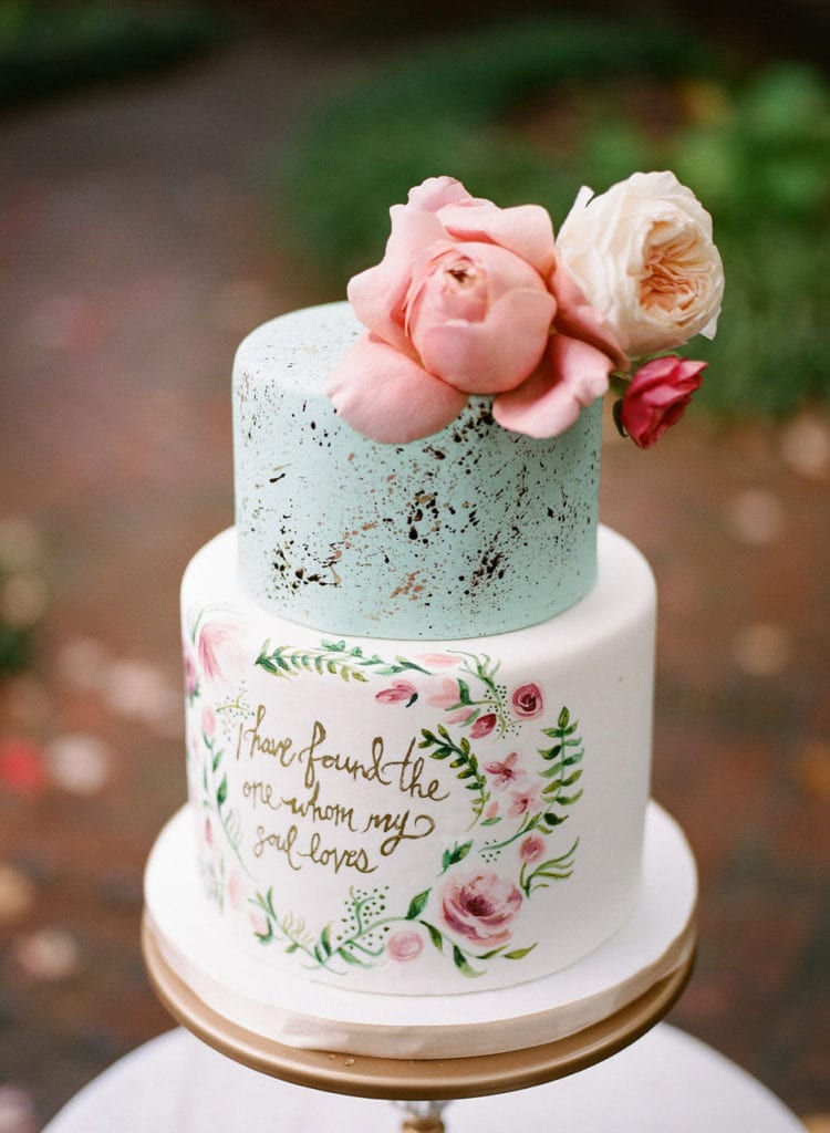Hand Painted Speckled Spring Wedding Cake